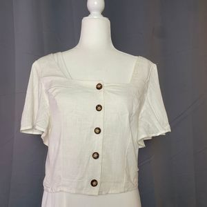 Francesca's NWT White Crop Top Large